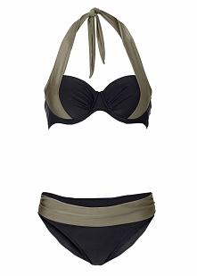Bikini na fiszbinach bonprix czarno-jasnooliwkowy