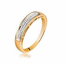 Złoty Pierścionek - złoto żółte 585, Diament 0,08ct