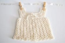 biała sukienka dla noworodka na szydełku
