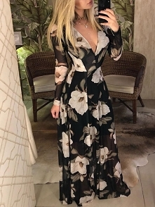 Floral Print V Neck Long Sleeve Maxi Dress Rozmiar: S, M, L, XL Kolor: black
