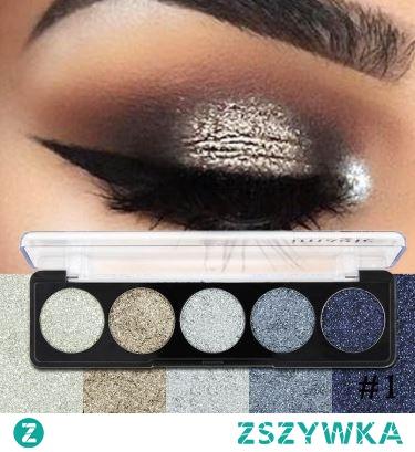 Paleta brokatowych cieni do powiek Wersja #1 (MM053)       Paleta 5 intensywnie napigmentowanych cieni do powiek o brokatowym wykończeniu.  Rodzaj ich wykończenia sprawi, że makijaż z pewnością będzie spektakularny.   Bardziej stonowane cienie nadają się do codziennego makijażu. Ciemniejsze lub te bardziej żywe, idealnie sprawdzą się na imprezy.  Cienie utrzymują się na powiekach bardzo długo. W celu większej przyczepności drobinek i intensywności koloru, zastosuj bazę pod cienie, co dodatkowo przedłuży ich trwałość.  Paleta dostępna jest w trzech wersjach kolorystycznych.
