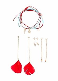 Komplet biżuterii (7 części) bonprix różowo-turkusowy
