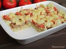 Zapiekanka kalafiorowa z pomidorem i kiełbasą