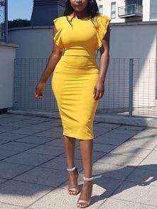 Solid Flutter Sleeve Slit Bodycon Dress Rozmiar: S, M, L, XL Kolor: yellow