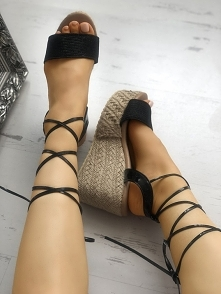 Lace-up Platform Espadrille Wedge Sandals Rozmiar: US4, US4.5, US5.5, US6, US...