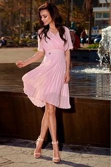 Plisowana sukienka kopertowa l255
