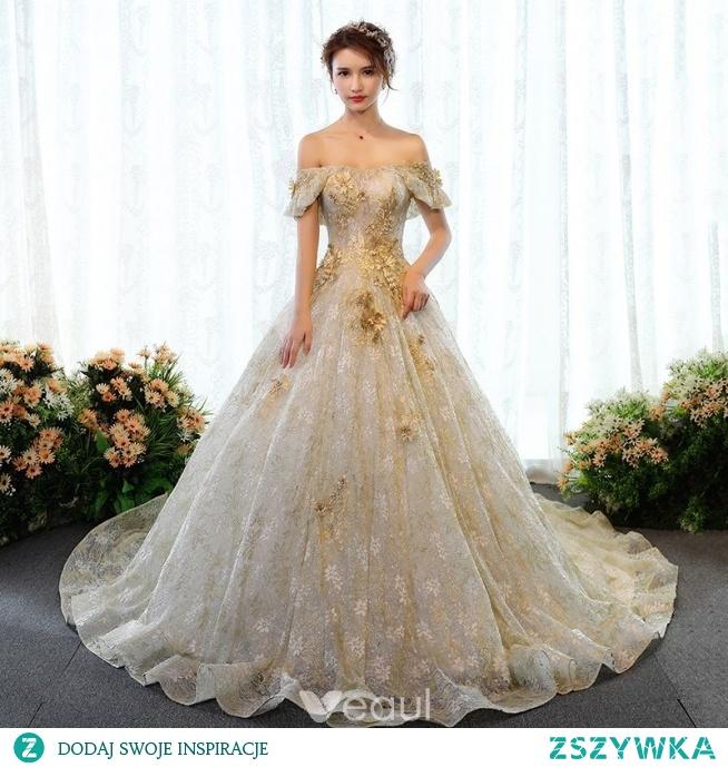 Luksusowe Złote Suknie ślubne 2018 Suknia Balowa Cekinami Z Kor Na