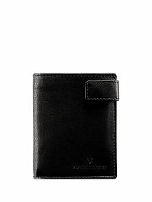 Skórzany portfel w kolorze czarnym - (S)9 x (W)10,5 cm