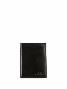 Skórzany portfel w kolorze czarnym - (S)9,5 x (W)13,5 cm