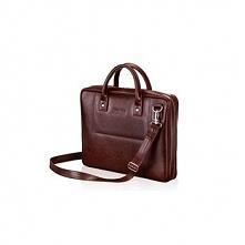 Skórzana burgundowa męska torba na laptopa Solier Belfast