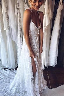 A Line Court Train Halter Sleeveless Backless Side Slit Cheap Wedding Gown,Be...