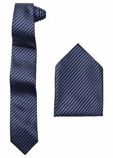 Krawat + poszetka bonprix czarny w paski