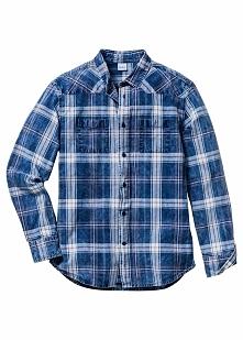 Koszula z długim rękawem Regular Fit bonprix biało-niebieski dżins w kratę
