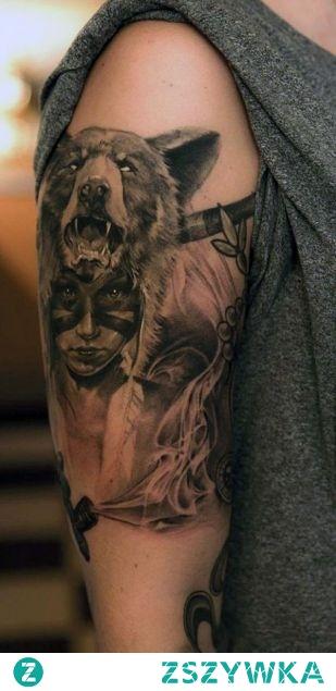 Tatuaż Kobieta Z Niedźwiedziem Na Głowie Na Tatuaże Zszywkapl