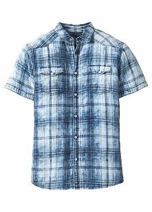 Koszula z krótkim rękawem Slim Fit bonprix niebieski w kratę