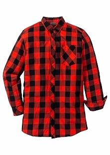 Długa koszula z długim rękawem Regular Fit bonprix czarno-czerwony w kratę