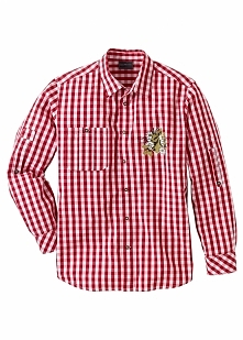 Koszula ludowa Regular Fit bonprix ciemnoczerwono-biały w kratę