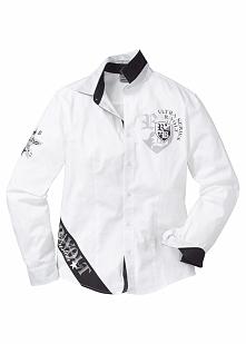 Koszula z długim rękawem Slim Fit bonprix biały