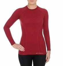 Brubeck Koszulka damska z długim rękawem Active Wool burgundowa r. XL (LS12810)