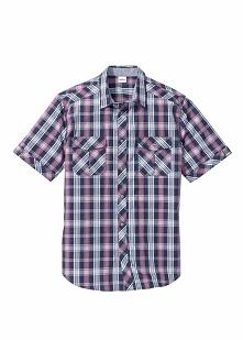 Koszula z krótkim rękawem Regular Fit bonprix matowy jeżynowy w kratę