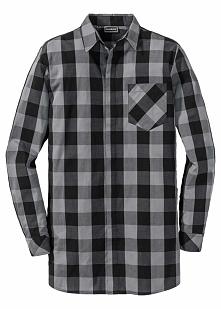 Długa koszula z długim rękawem Regular Fit bonprix czarno-szary w kratę