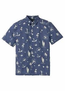 Koszula z krótkim rękawem Regular Fit bonprix indygo z nadrukiem
