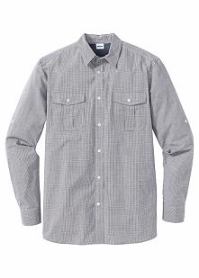 Koszula w kratę Regular Fit bonprix biało-czarny