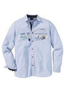 Koszula z długim rękawem Regular Fit bonprix jasnoniebieski w paski