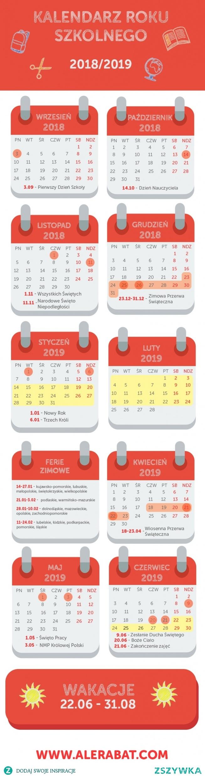 Kalendarz roku szkolnego 2018/2019, infografika