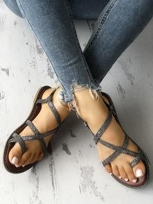 Sparkle Crisscross Strappy Toe Post Flat Sandals Rozmiar: US4, US4.5, US5.5, ...