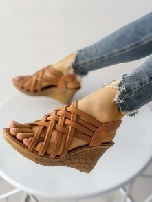 Multi-strap Criss Cross Platform Wedge Sandals Rozmiar: US4.5, US5.5, US6, US...