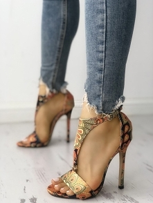 Peacock Feather Print T-Strap Thin Heeled Sandals Rozmiar: US4.5, US5.5, US6,...