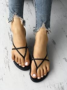 Solid Braided Crisscross Top Post Sandals Rozmiar: US4.5, US5.5, US6, US7, US...