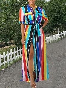 Rainbow Color Striped Buttoned Shirt Maxi Dress Rozmiar: S, M, L, XL Kolor: blue