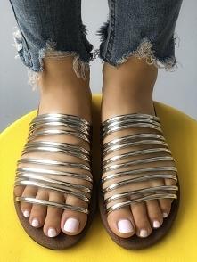 Solid Shiny Multi-strap Peep Toe Sandals Rozmiar: US4.5, US5.5, US6, US7, US8...