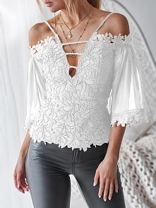 Cold Shoulder Guipure Lace Zipper Back Blouse Rozmiar: S, M, L, XL Kolor: white