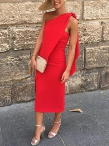 Solid One Shoulder Tied Bodycon Dress Rozmiar: S, M, L, XL Kolor: red