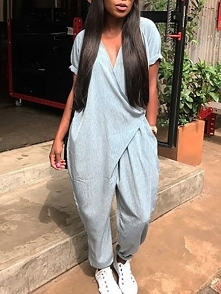 Stylish Pocket Wrapped Harem Jumpsuit Rozmiar: S, M, L, XL, 2XL Kolor: gray