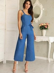 Denim Waist Belted Wide Leg Jumpsuit Rozmiar: S, M, L, XL, 2XL, 3XL Kolor: blue