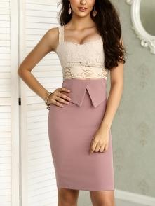 Lace Cutout Patchwork Zipper Up Slit Bodycon Dress Rozmiar: S, M, L, XL Kolor...