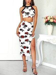Floral Print Halter Top With Side Slit Skirt Sets Rozmiar: M Kolor: white