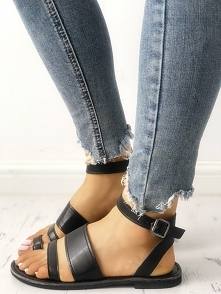 Solid Strappy Buckled Toe Post Flat Sandals Rozmiar: US4.5, US5.5, US6, US7, ...