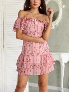 Off Shoulder Ruffle Design Mini Dress Rozmiar: S, M Kolor: pink