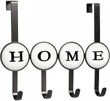 Timelife Wieszak Na Drzwi Home, 4 Haczyki, Czarny