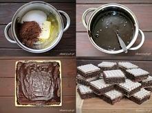 Wafle kakaowe       150 g masła     1 szklanka cukru     3 łyżki kakao     2 jajka     4 łyżki śmietany 12%     1 opakowanie wafli  Masło rozpuszczamy, dodajemy cukier i kakao, ...