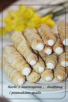 Rurki ze śmietaną i serem mascarpone       500 g mąki pszennej typ 500     25...