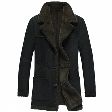 Men Sheepskin Coat | CWMALLS® Glasgow Mens Black Shearling Coat CW878261 [Cus...