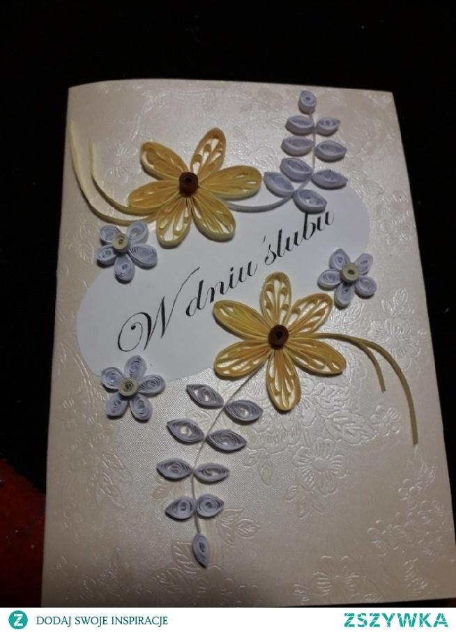 kartka na ślub quilling