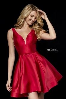 2018 Sherri Hill 52179 Taffeta Short A-Line Homecoming Dresses Red