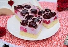 Ciasto z czereśniami i kolorowym szkiełkiem   Składniki na biszkopt:      jaj...